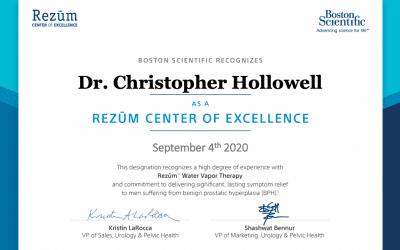 Boston Scientific Presents Dr. Christopher Hollowell Award for Rezum Procedure.