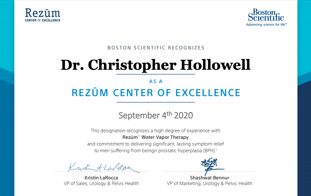 Boston Scientific Presents Dr. Christopher Hollowell Award for Rezum Procedure.